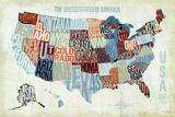 Kaart van de VS met de staten in letters weergegeven, titel: USA Modern Blue Kunst van Michael Mullan