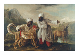 Cheetah and Stag With Two Indians Premium Giclee-trykk av George Stubbs