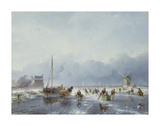 Frozen Winter Scene Premium Giclee Print by Andreas Schelfhout