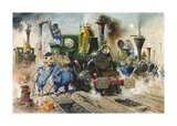 The Running Sheds of the Great Caerphilly and Vole-Tail Central Railway Premium Giclee Print by Terence Cuneo