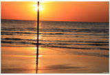 Beach (Sunset Behind Pole) Art Poster Print Posters