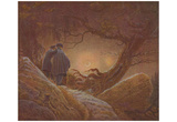 Caspar David Friedrich (Two men in view of the moon) Art Poster Print Posters