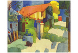 August Macke (House in the garden) Art Poster Print Posters