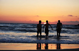 Beach (Kids Playing in Sunset) Art Poster Print Masterprint