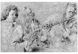 Antoine Watteau (Study Sheet with flute players and the head study of a boy) Art Poster Print Photo