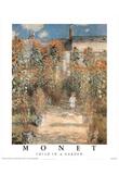 Claude Monet Child Garden Flowers Art Print Poster Prints