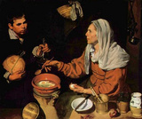 Diego Velazquez (An old woman roasted eggs (The old cook)) Art Poster Print Masterprint