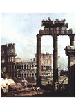 Canaletto (I) (Capriccio Romano, Colosseum with the ruins of the temple of the Vespian) Art Poster Prints