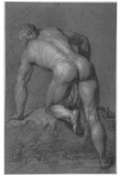 Dutch artist around 1700 (Male Nude, back piece) Art Poster Print Print