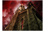 Castle (From Below, Red Sky) Art Poster Print Prints