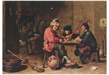 David Teniers d. J. (Three musicians farmers) Art Poster Print Poster