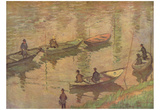 Claude Monet (Fishermen on the Seine at Poissy) Art Poster Print Prints