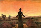 Caspar David Friedrich (Woman before sunset (sunset, sunrise, women in the morning sun)) Art Poster Masterprint