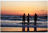 Beach (Kids Playing in Sunset) Art Poster Print Posters