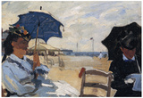 Claude Monet (The Beach at Trouville) Art Poster Print Poster