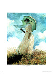 Claude Monet Femma A L'Ombrelle Art Print Poster Photo