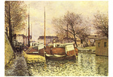 Alfred Sisley (Barges on the Canal Saint-Martin in Paris) Art Poster Print Photo