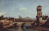 Canaletto (I) (Capriccio Veneto, river, bridge and medieval city gate) Art Poster Print Masterprint