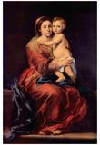 Bartolomé Esteban Perez Murillo (Madonna with the Rosary) Art Poster Print Prints