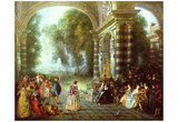 Antoine Watteau (The ball fun (Les Plaisirs du bal)) Art Poster Print Photo
