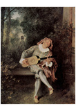 Antoine Watteau (Mezzetin) Art Poster Print Poster