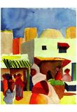 August Macke (Market in Algiers) Art Poster Print Posters