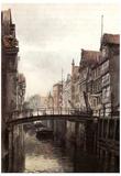 Ebba Tesdorpf (Hamburg, bridge at Little Jungfernstieg) Art Poster Print Prints