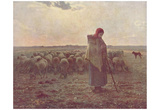 Jean-François Millet (II) (Shepherdess) Art Poster Print Foto