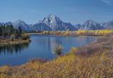 Jackson, Wyoming (Scenic View of Mountain Peaks, Trees In Autumn Colors, Evergreen Trees, and the S Masterprint
