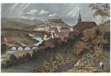 Johann Gabriel Friedrich Poppel (Tubingen, Neckar with Stiftskirche and Castle High Tubingen) Art P Posters