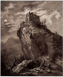Karl August Lebschee (Fassen, Falkenstein castle ruins from the north) Art Poster Print Poster