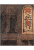 Jan van Eyck (Mary Annunciation, Detail: Stained glass windows and wall fresco) Art Poster Print Posters