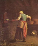 Jean-Fran&#231;ois Millet (II) (Woman baking bread) Art Poster Print Masterprint