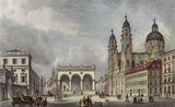 Johann Gabriel Friedrich Poppel (Munich, Theatinerkirche and Feldherrnhalle) Art Poster Print Masterprint