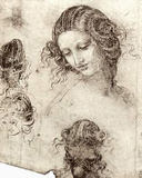Leonardo da Vinci (Head hair and costume studies for &quot;Leda&quot;) Art Poster Print Masterprint