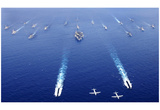 Naval Ships (19 American and Japanese Ships) Art Poster Print Photo