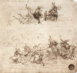 Leonardo da Vinci (Fragments of battle scenes) Art Poster Print Posters