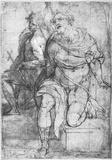 Martin Fréminet (Two seated male figures: John the Baptist and the Apostle Paul) Art Poster Print Masterprint