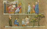Master of the Vienna Genesis (Wiener Genesis, scene: Joseph and Potiphar's wife) Art Poster Print Masterprint