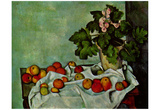 Paul Cezanne (Still life, stick with fruits geraniums) Art Poster Print Poster