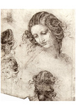"Leonardo da Vinci (Head hair and costume studies for ""Leda"") Art Poster Print Posters"
