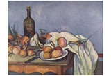 Paul Cezanne (Still Life with Onions and Bottle) Art Poster Print Posters
