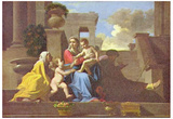Nicolas Poussin (Holy Family on the Steps) Art Poster Print Print