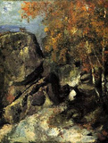 Paul Cezanne (Rocks in the Forest of Fontainebleau) Art Poster Print Masterprint