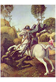 Raffael (St. George fighting the dragon) Art Poster Print Plakaty