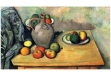 Paul Cezanne (Still Life, Fruit and Jug on a Table) Art Poster Print Prints