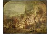Rembrandt Harmensz. van Rijn (Sermon of John the Baptist) Art Poster Print Photo