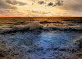 Sunset (Over Ocean Waves) Art Poster Print Masterprint