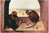 Pieter Brueghel (Two monkeys) Art Poster Print Prints