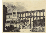 Spanish copper engraver of the 18th Century (Market under the Aqueduct of Segovia) Art Poster Print Posters